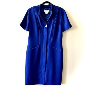 Vintage Royal Blue Sheath Dress White Stitching 14